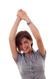 Business Woman Rejoicing Success Stock Photography