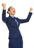 Business woman rejoicing success Stock Photo