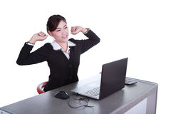 Business woman relax in office. Isolated on white background Royalty Free Stock Photography