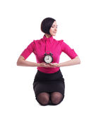 Business woman relax in yoga pose with clock Royalty Free Stock Photo
