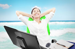 Business woman is relaxing Royalty Free Stock Image