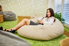 Business woman relaxing during her lunch break Stock Photo