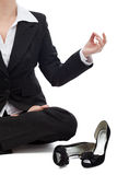 Business woman relaxing in the lotus position Stock Photos
