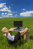 Business Woman Relaxing Office Desk Green Field royalty free stock image