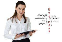 Business woman with report Royalty Free Stock Photography