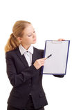 Business woman with a represent folder. Portrait of the business woman with a represent folder stock photography