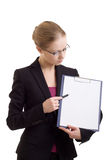 Business woman with a represent folder. Portrait of the business woman with a represent folder stock images