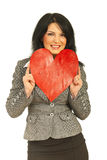 Business woman rest face in heart Stock Photo