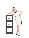 Business woman resting on cabinet file Stock Photos