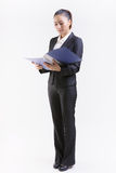 Business woman review files Stock Photo