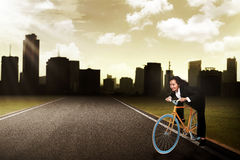 Business Woman Riding Bike Concept Royalty Free Stock Images