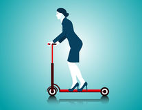 Business woman riding scooter. Concept business illustration. Vector flat Stock Image