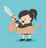Business woman riding the toy horse have sword Stock Photos
