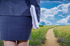 Business woman and road Royalty Free Stock Photos