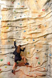 Business woman on rock wall Royalty Free Stock Image