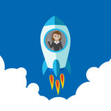 Business woman on rocket. Startup rocket flying in sky. Business Stock Photography