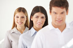 Business woman in a row with her Royalty Free Stock Photo