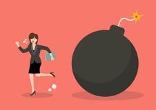 Business woman run away from bomb. Business finance concept Stock Photos