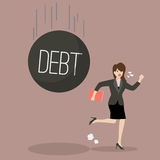 Business woman run away from heavy debt Stock Photography