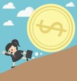 Business woman run money trap Stock Image