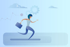 Business Woman Run Team Leader Competition Concept. Flat Vector Illustration Royalty Free Stock Image