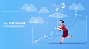 Business Woman Run With Umbrella Security Concept. Flat Vector Illustration Stock Photo