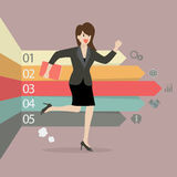 Business woman running with arrows infographic Stock Photos
