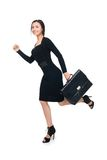 Business woman running with briefcase Stock Image