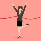 Business woman running at the finish line. Business success concept Stock Images