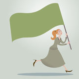 Business woman running forward with waving flags. Stock Photos