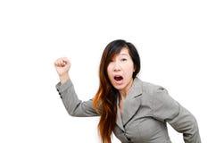 Business woman running sideways. Asian business woman running sideways, body part royalty free stock photo