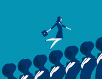 Business woman running up. Concept business illustration. Vector. Flat Royalty Free Stock Photography