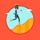 Business woman running upstairs. Royalty Free Stock Photo