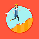 Business woman running upstairs. Royalty Free Stock Photos