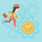 Business woman running vector illustration. Royalty Free Stock Photos