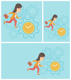 Business woman running vector illustration. Stock Images