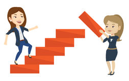 Business woman runs up the career ladder. Stock Images