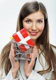 2 business woman Sälja begrepp Vit bakgrund Arkivbilder