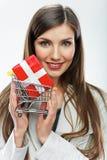 2 business woman Sälja begrepp Vit bakgrund Arkivfoton