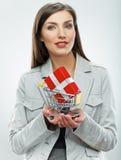 2 business woman Sälja begrepp Vit bakgrund Arkivbild