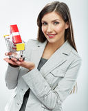 2 business woman Sälja begrepp Vit bakgrund Royaltyfri Foto
