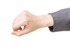Business woman's hand take or pull something Stock Images