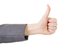 Business woman's hand with thumb up gesture Royalty Free Stock Photography