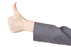 Business woman's hand with thumb up gesture Stock Photos