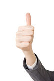 Business woman's hand with thumb up gesture Royalty Free Stock Image