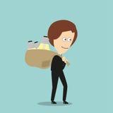 Business woman with sack of idea light bulbs Stock Image