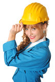 Business woman with safety hat. Business woman wearing yellow safety hat isolated on a white background Stock Images