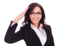 Business woman saluting Royalty Free Stock Photos