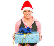 Business woman in Santa Hat with present box Royalty Free Stock Image