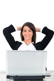 Business woman sat in front of computer Stock Images